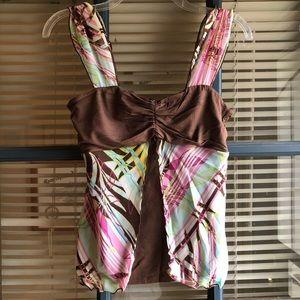 Bisou Bisou brown and floral top